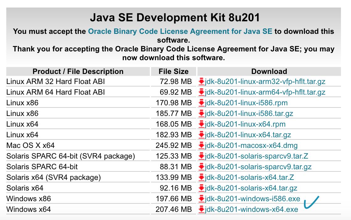 Java SE 8u201